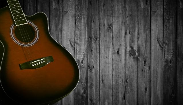 立てかけたギター